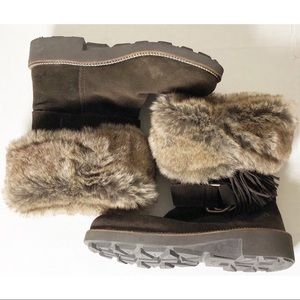Earth Diva Beaver brown suede fur lined boots 6.5